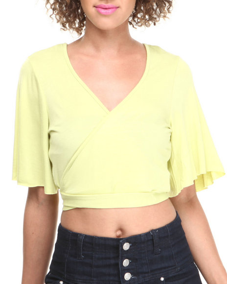 Baby Phat - Women Green Bell Sleeve Tie Front Cropped Top