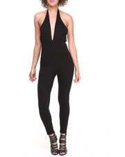 COOGI - Criss Cross Halter Cut-Out Pantsuit