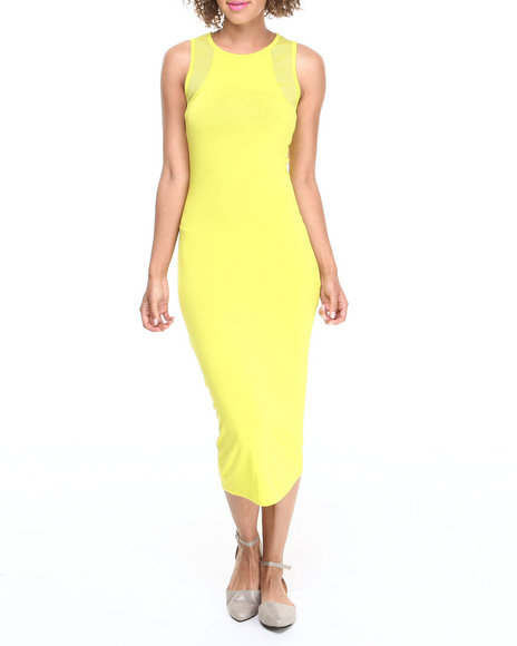 ALI & KRIS Neon Green Mesh Insert Jersey Knit Midi Dress
