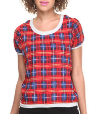 Women - Plaid Print S/S Top