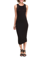 Women - Mesh Insert Jersey Knit Midi Dress
