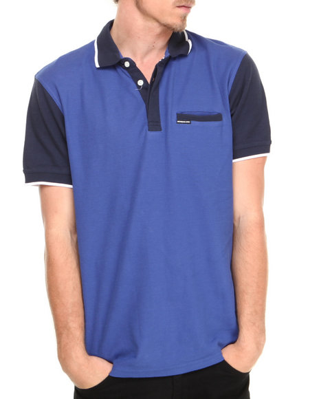 Members Only - Men Blue Color Block Polo Shirt