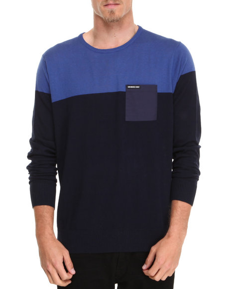 Members Only - Men Blue,Navy Color Block Cotton Sweater