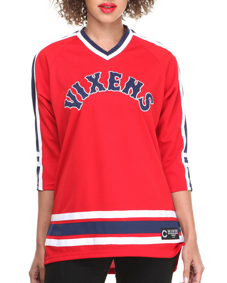Crooks & Castles Red Jersey Vixens Knit Hockey Jersey