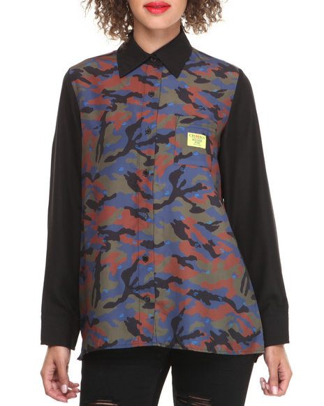 Crooks & Castles - Women Camo Double Barrel Long Sleeve Woven