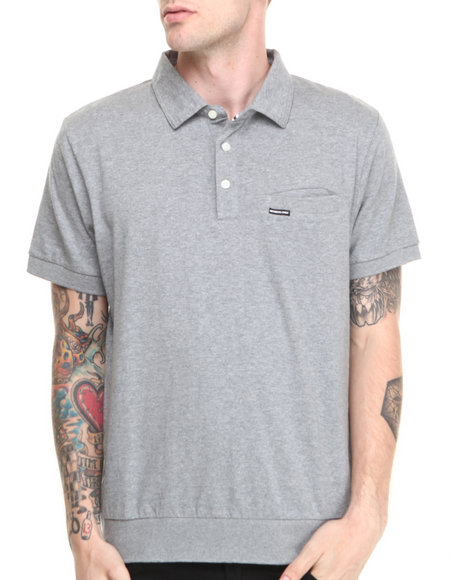 Members Only - Men Grey Solid Jersey Polo With Pocket Detail