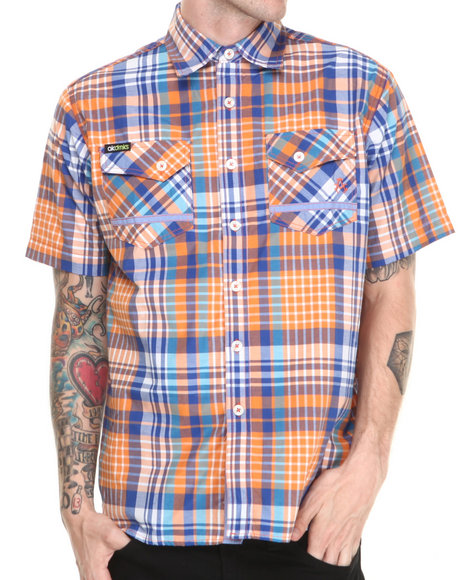 Akademiks Orange Charger Plaid S/S Button Down Shirt