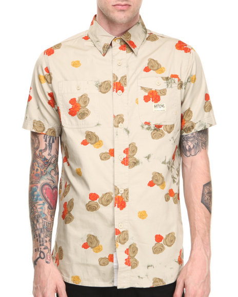Parish Khaki Plant S/S Button-Down