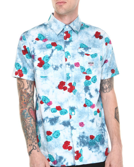 Parish - Men Blue Plant S/S Button-Down