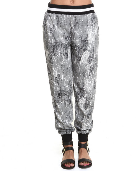 ALI & KRIS Black,Grey Geo Print Athletic Pant