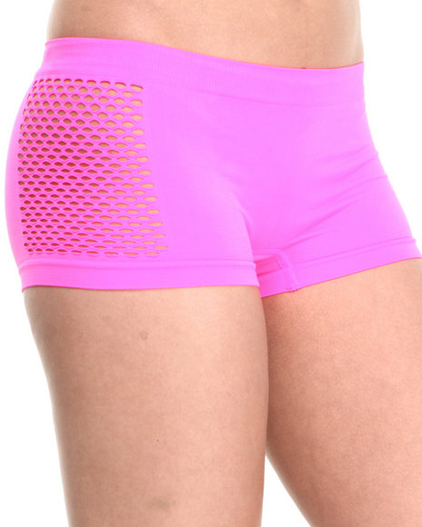 Baby Phat - Women Pink Fishnet Sides Seamless Short