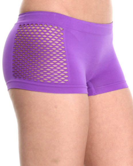 Baby Phat - Women Purple Fishnet Sides Seamless Short