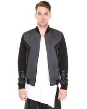 Jackets & Coats - Geometric Neoprene Moto Jacket