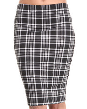 Women - Plaid Print Midi Skirt