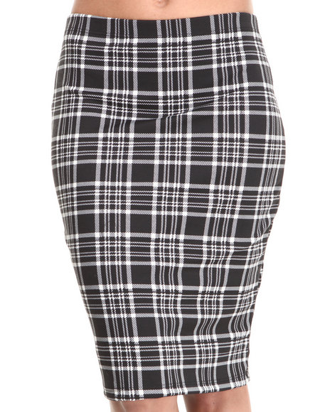 ALI & KRIS Black,White Plaid Print Midi Skirt