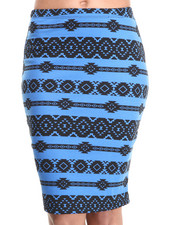 Bottoms - Aztec Print Midi Skirt