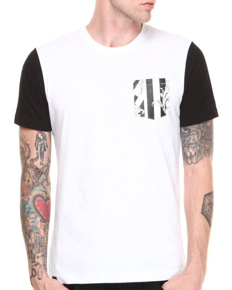 Akademiks - Men White Dictator Colorblock Tee W/ Damask Print Vegan Leather Pocket - $7.99