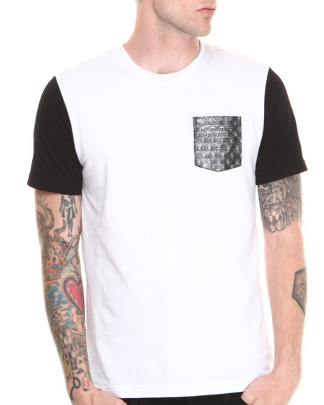 Akademiks - Men White Lark Colorblock Tee W/ Vegan Leather Star Print Pocket - $7.99
