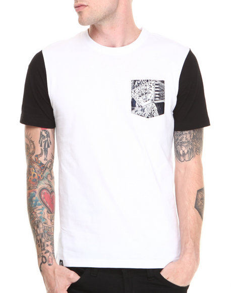 Akademiks - Men White Champion Colorblock Tee W/ Mixed Animal Print Vegan Leather Pocket