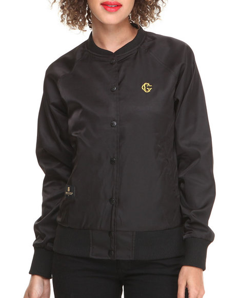 Crooks & Castles Black Apparation Woven Baseball Jacket