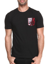 Akademiks - Starlight Short Sleeve Tee w/ Red Vegan Leather Snake Skin Pocket