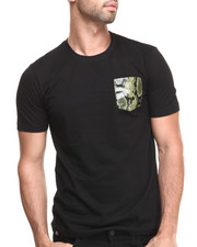 Shirts - Clipper Short Sleeve Tee w/ Green Vegan Leather Snake Skin Pocket
