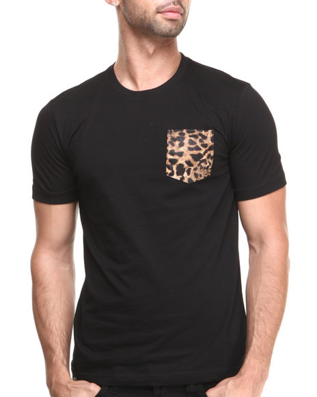 Akademiks - Men Black Daytona Short Sleeve Tee W/ Leopard Vegan Leather Pocket - $11.99