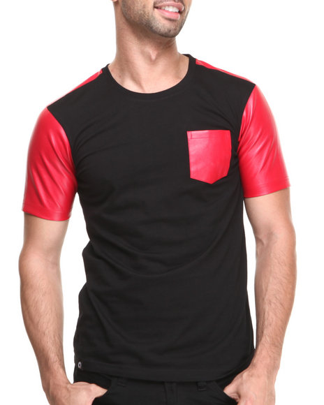 Akademiks - Burke Short Sleeve Tee w/ Vegan Leather Trim
