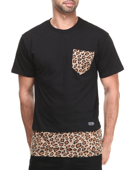 Buyers Picks - Men Animal Print,Black Trim Layered Premium Animal Tee