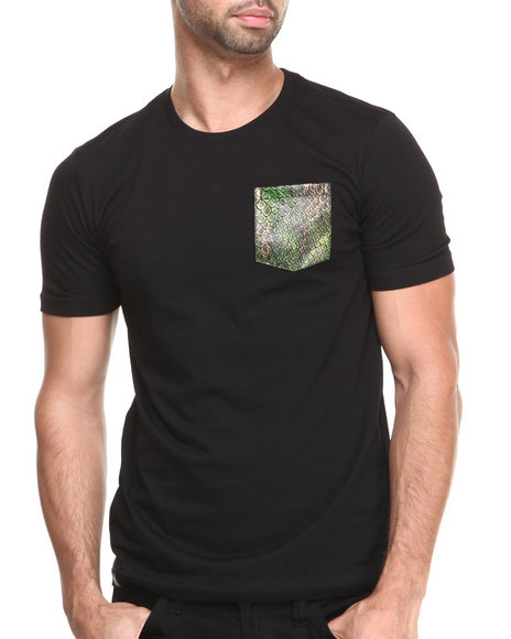 Akademiks Black Cruiser Short Sleeve Tee W/ Vegan Leather Python Print Pocket
