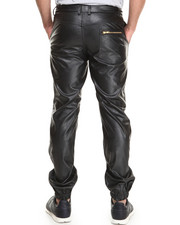 Akademiks - Dark Side Vegan Leather Pants w/ Zipper Trim