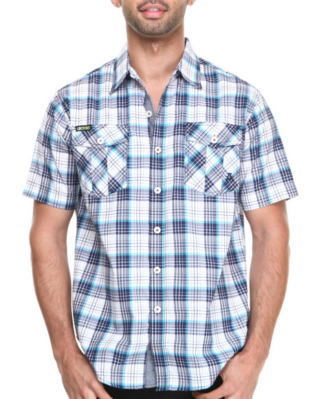 Akademiks - Men Navy Simon Plaid S/S Button Down Shirt