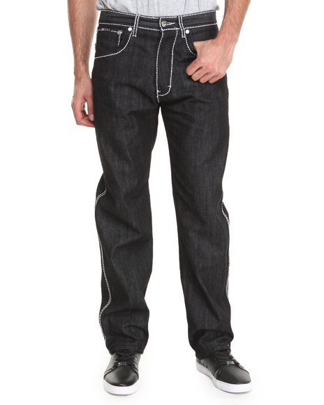 Akademiks - Men Dark Wash Thick Stitch Signature Rolodex Denim Pants