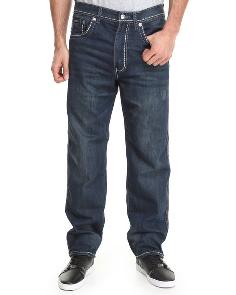 Akademiks - Men Dark Wash Pulse Thick Stitch Signature Fanback Denim Jeans