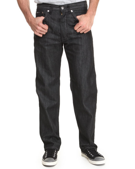 Akademiks - Men Black Thick Stitch Signature Rolodex Denim Pants