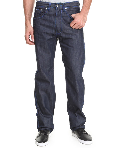 Akademiks - Men Blue Thick Stitch Signature Rolodex Denim Pants