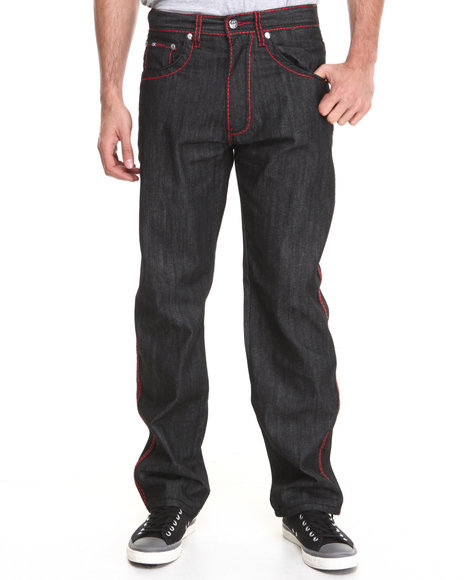 Akademiks - Men Black Thick Stitch Signature Rolodex Denim Pants - $44.99