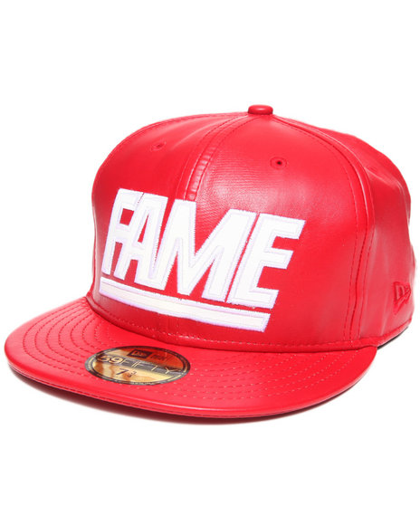 Hall of Fame Red Hall Of Fame Leather Fame Block New Era Fitted Cap