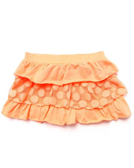 La Galleria - Girls Orange Tiered Ruffle Skirt (4-6X)