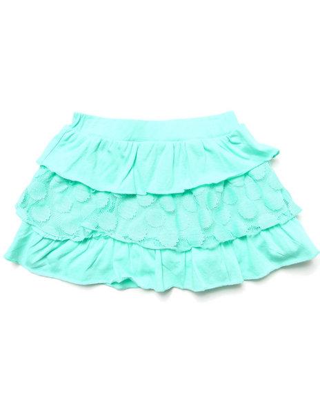 La Galleria - Girls Green Tiered Ruffle Skirt (4-6X)