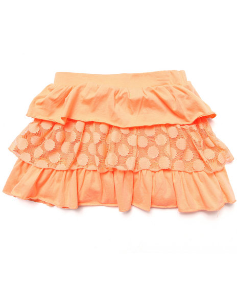 La Galleria - Girls Orange Tiered Ruffle Skirt (7-16)