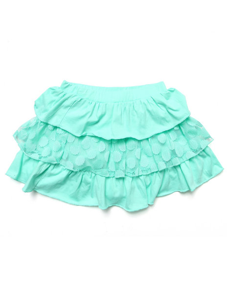 La Galleria - Girls Green Tiered Ruffle Skirt (7-16)