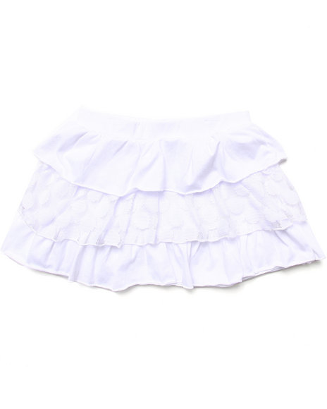 La Galleria - Girls White Tiered Ruffle Skirt (7-16)