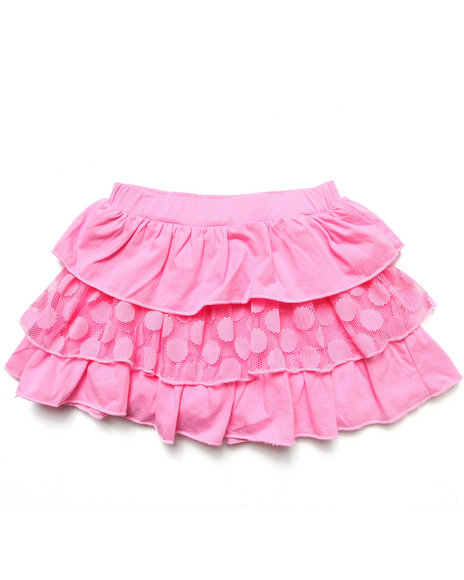 La Galleria Girls Pink Tiered Ruffle Skirt (7-16)