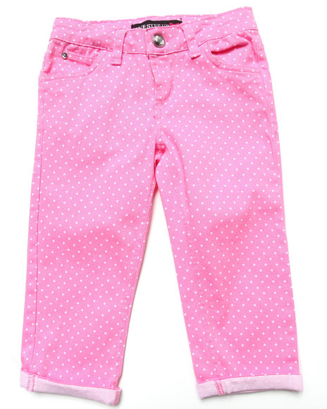 La Galleria Girls Pink Polka Dot Capri Pants (7-16)