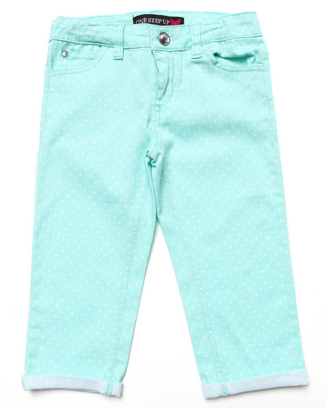 La Galleria - Girls Green Polka Dot Capri Pants (7-16)