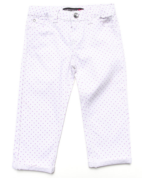 La Galleria - Girls White Polka Dot Capri Pants (7-16)