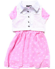 Girls - TWILL VEST & POLKA DOT SKATER DRESS SET (4-6X)