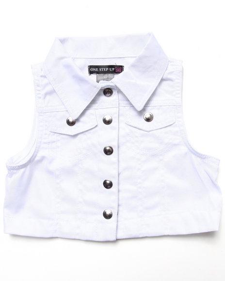 La Galleria - Girls Pink Twill Vest & Polka Dot Skater Dress Set (4-6X)