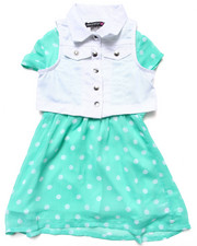 Girls - TWILL VEST & POLKA DOT SKATER DRESS (4-6X)